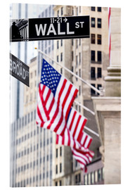Cuadro de metacrilato  Wall street sign with New York Stock Exchange