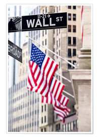 Póster  Wall street sign with New York Stock Exchange
