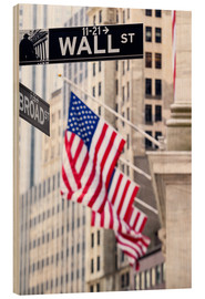 Cuadro de madera  Wall street sign with New York Stock Exchange