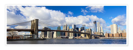 Póster  Panoramic Brooklyn Bridge and Manhattan skyline