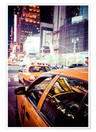 Póster Yellow Cabs and city lights