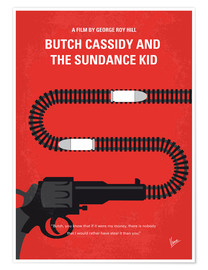Póster No585 My Butch Cassidy and the Sundance Kid minimal movie poster