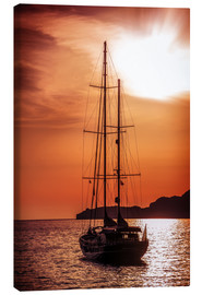 Lienzo  Old ship sailing to the sunset
