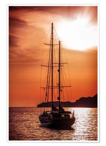 Póster Old ship sailing to the sunset