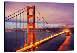 Aluminio-Dibond  The Golden Gate Bridge by night, San Francisco