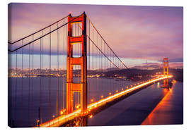 Lienzo  The Golden Gate Bridge by night, San Francisco
