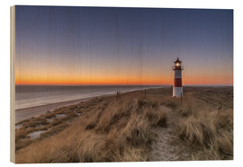 Cuadro de madera  Sylt island - Lighthouse Sylt Ost (Sunrise) - Achim Thomae