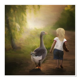 Póster Little girl with goose