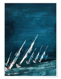 Póster Sailboats, abstract