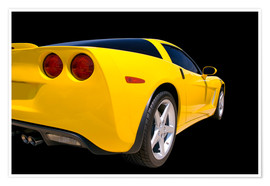 Póster  Yellow Corvette - sports car
