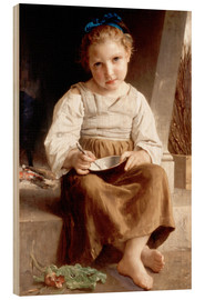 Cuadro de madera  The slurry, little girl eating his soup - William Adolphe Bouguereau
