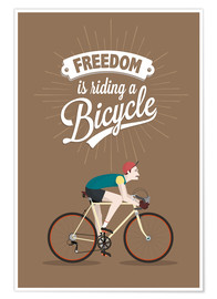 Póster  Freedom is riding a bicycle - Typobox