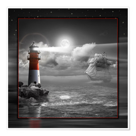 Póster Lighthouse and Sailboat in the Moonlight