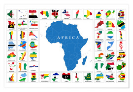 Póster  African Countries with Flags