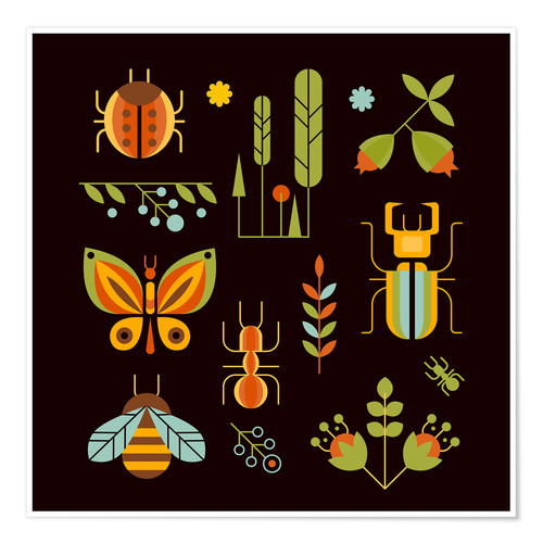 Póster Retro Insects