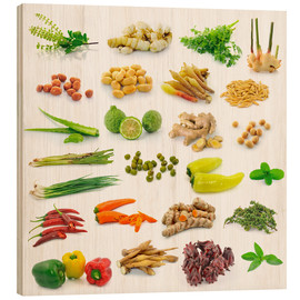 Cuadro de madera  Vegetable and herb collection