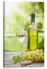 Lienzo  White wine glass and bottle