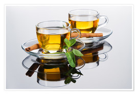 Tea cup with fresh mint leaves