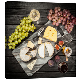 Lienzo  Wine and cheese still life