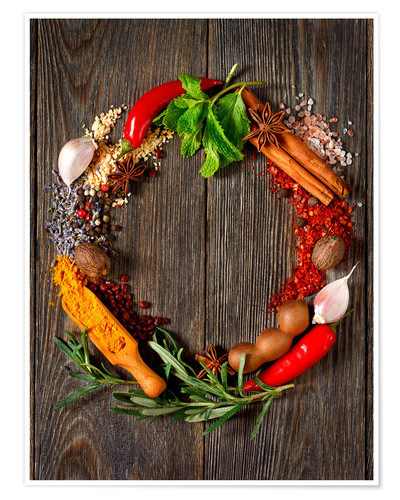 Póster wreath of spices and herbs