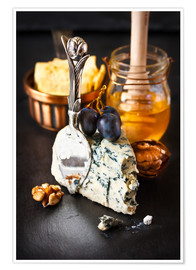 Póster  Delicious blue cheese with honey