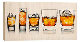 Cuadro de madera  alcoholic drinks with natural ice