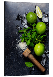 Aluminio-Dibond  Mojitos (ice cubes, mint, sugar and lime)