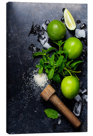 Lienzo  Mojitos (ice cubes, mint, sugar and lime)