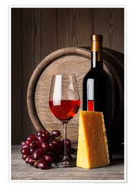 Póster  Red wine with cheese and grapes