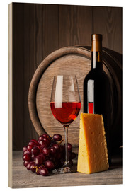 Cuadro de madera  Red wine with cheese and grapes