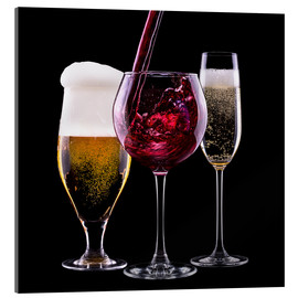 Cuadro de metacrilato  drinks - beer, wine and champagne