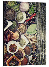 Cuadro de aluminio  Spices And Herbs On Rusty Old Wood