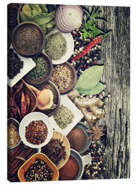 Lienzo  Spices And Herbs On Rusty Old Wood