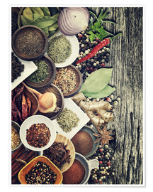 Póster  Spices And Herbs On Rusty Old Wood