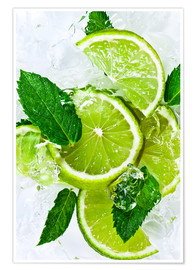 Póster  lime slices with ice and peppermint leaves
