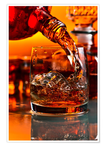Póster whiskey and ice