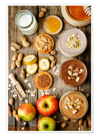 Póster  peanut butter smoothie with chocolate, apples, banana and oats