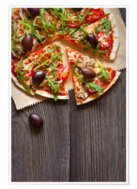 Póster Pizza with mushrooms and arugula