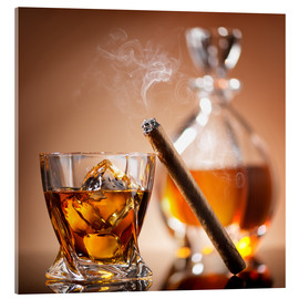 Cuadro de metacrilato  Cigar on glass of whiskey with ice cubes