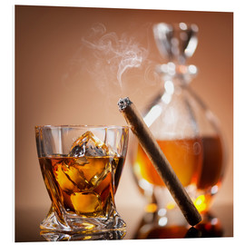 Cuadro de PVC  Cigar on glass of whiskey with ice cubes