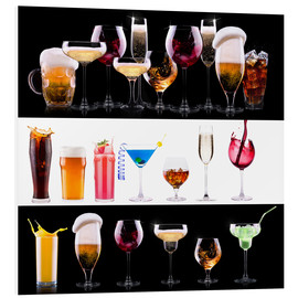 Cuadro de PVC  drinks - beer, wine, cocktail, juice, champagne, scotch, soda