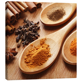 Lienzo  Herbs and spices on wood