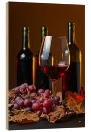 Madera  red wine with grapes and vine leaves
