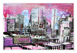 Póster New York, Pink Cityscape