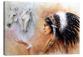 Lienzo  American Indian with horses