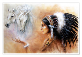 Póster  American Indian with horses