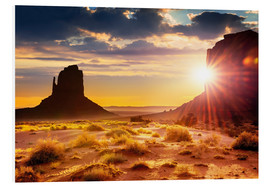 Cuadro de PVC  Sunset at the sisters in Monument Valley, USA