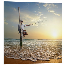 Forex  fisherman on stick on Indian ocean, Sri Lanka