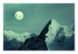 Póster  Full Moon on the Eiger - Gerhard Albicker