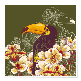 Póster Toucan olive